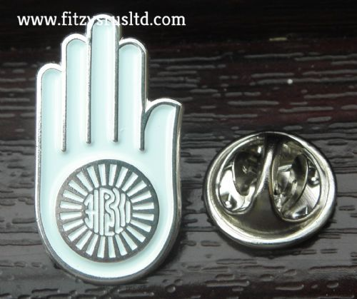 Ahimsa Hand Lapel Hat Cap Tie Pin Badge Brooch Jainism Jain Vow of Ahimsa